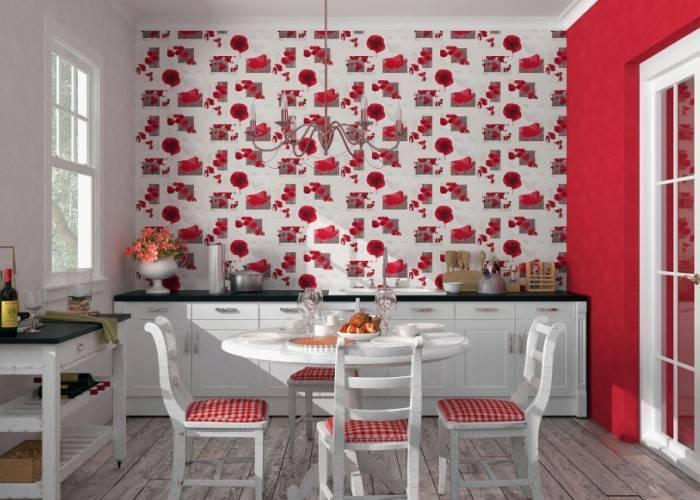 Яркий красный дизайн кухни