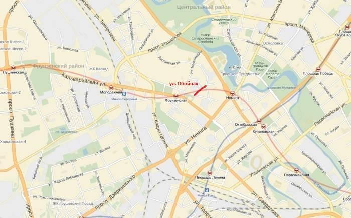 Карта Минска, улица Обойная