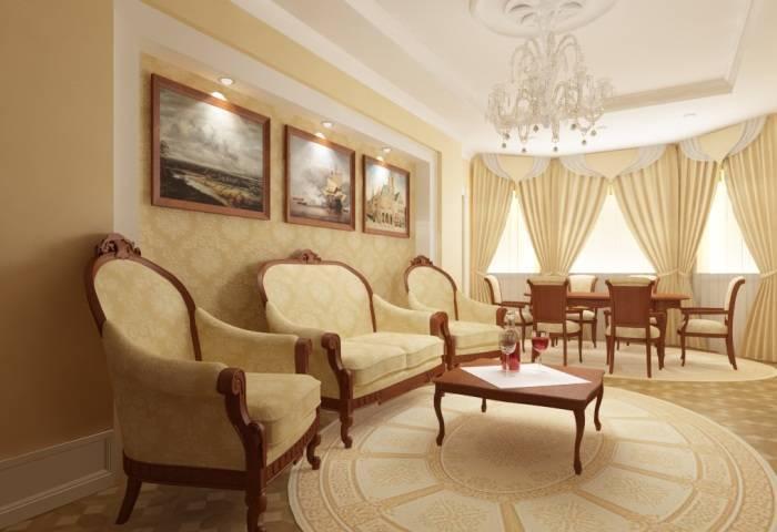 Сочетание обоев и мебели в интерьере