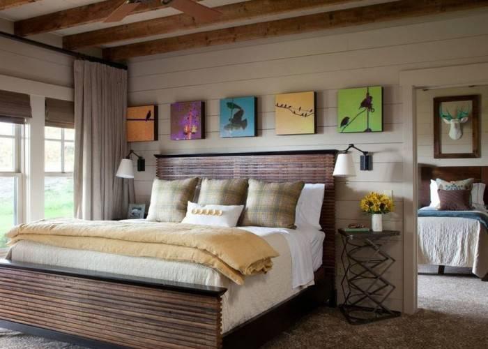 Использование натурального дерева в интерьере спальни