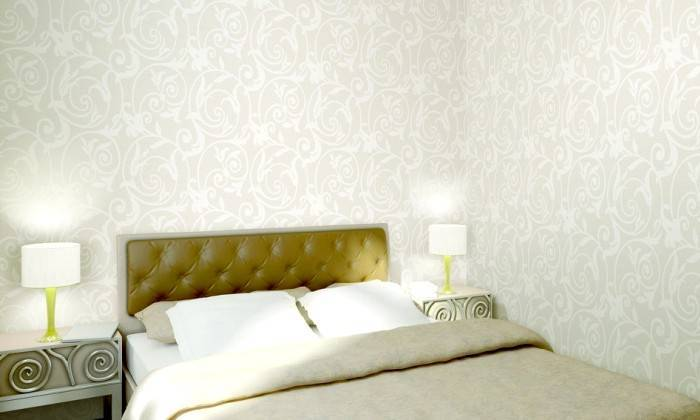 Использование обоев белого цвета в интерьере спальни