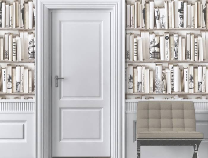 Использование обоев в виде шкафа с книгами