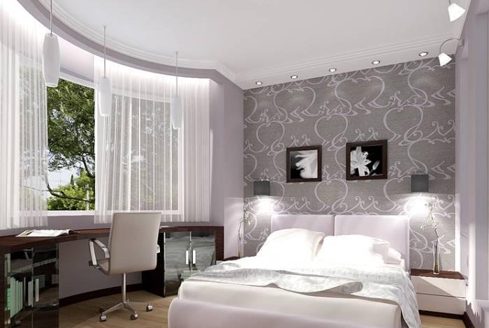 Проект спальни в розовых и серых тонах