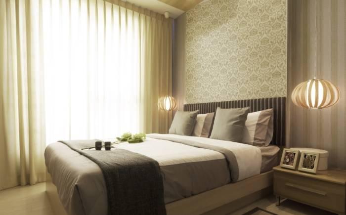 Обои пастельных тонов в спальне
