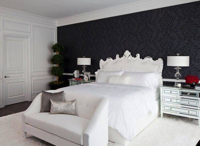 Контрастные цвета интерьера в спальне