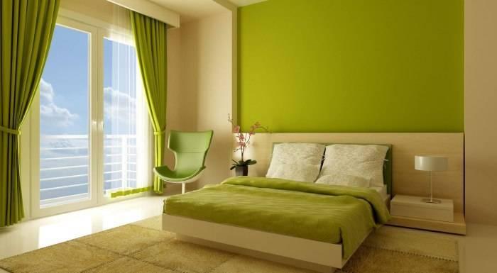 Использование фисташкового цвета в спальне