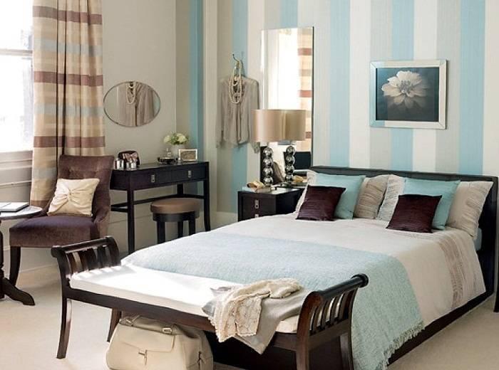 Использование в спальне голубого цвета