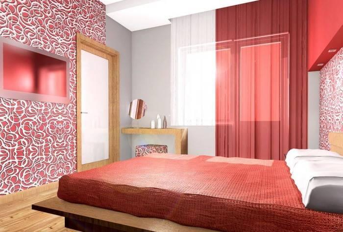 Обои с абстрактным рисунком в спальне