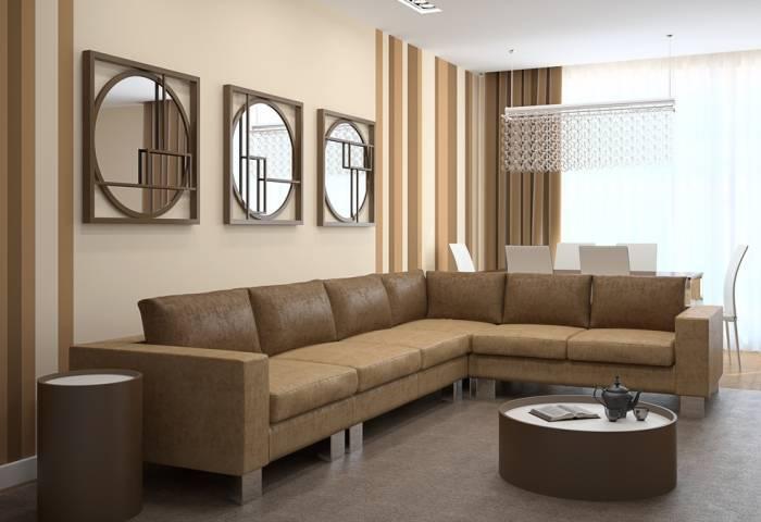 Использование бежевых обоев и коричневой мебели