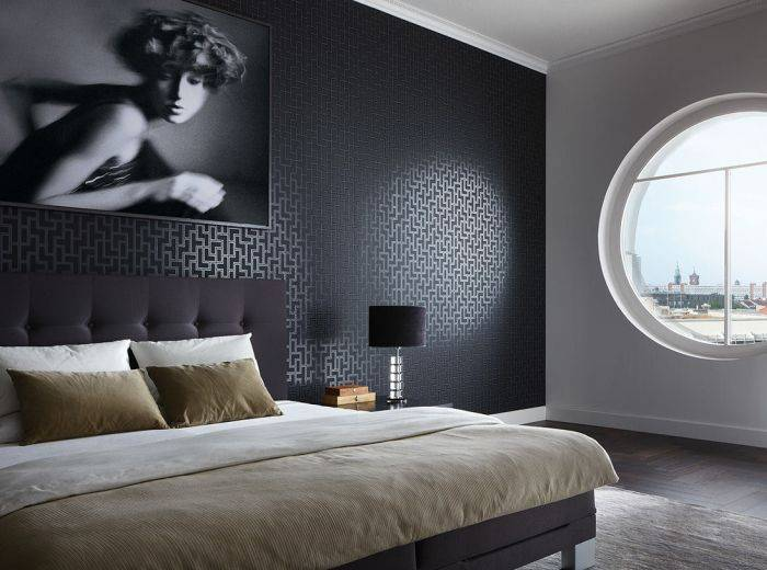 Применение черных обоев в спальне