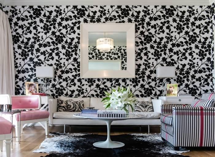 Использование черно-белой цветовой гаммы в гостиной
