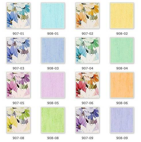 Различные расцветки обоев с одним рисунком