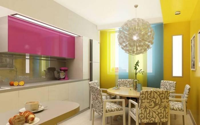 Применение различных цветов в дизайне кухни