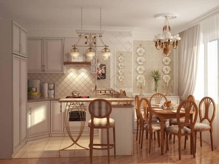 Уютный интерьер маленькой кухни