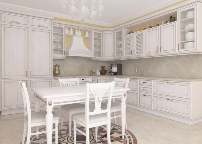 Шикарная мебель на большой кухне