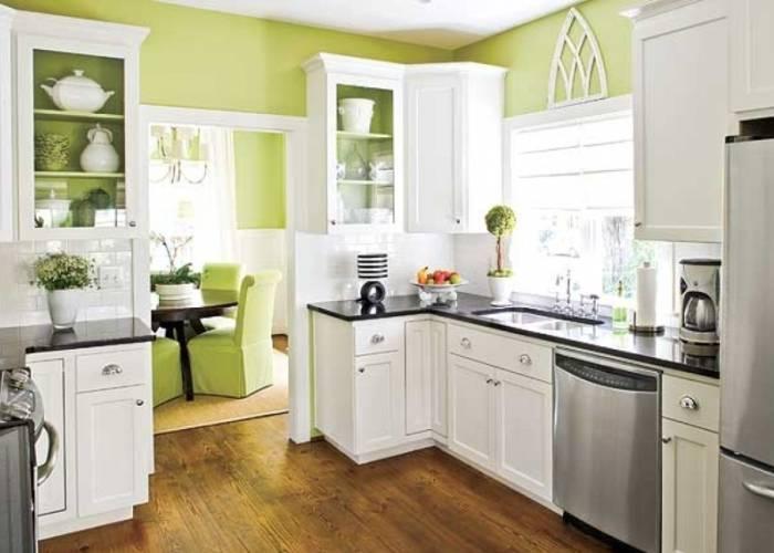 Зеленые цвета в интерьере кухни