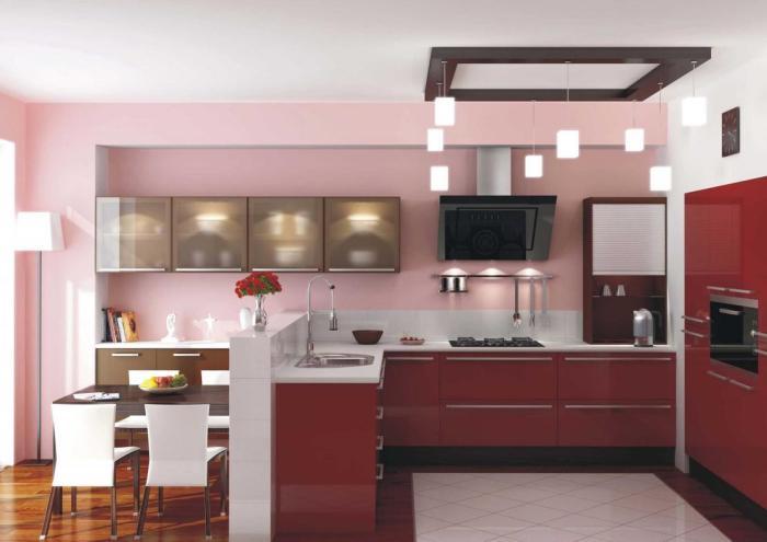 Приятные нежные цвета в интерьере кухни