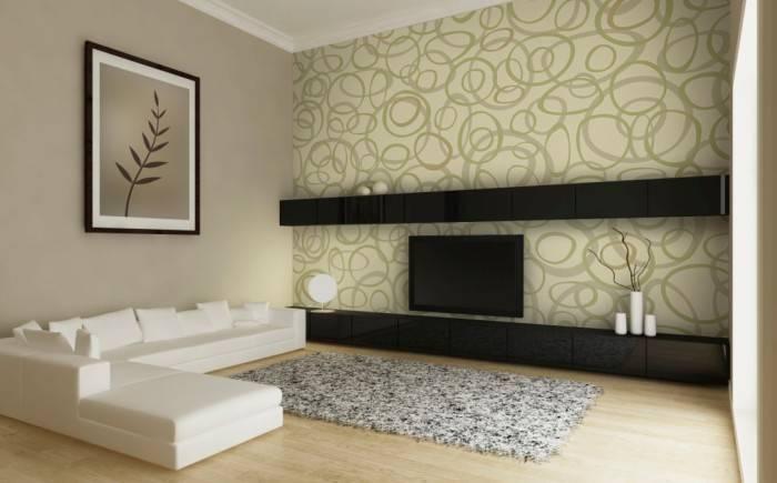 Виниловые обои на флизелине в интерьере гостиной комнаты