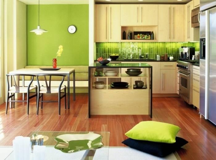 Использование зеленых акцентов в дизайне кухни
