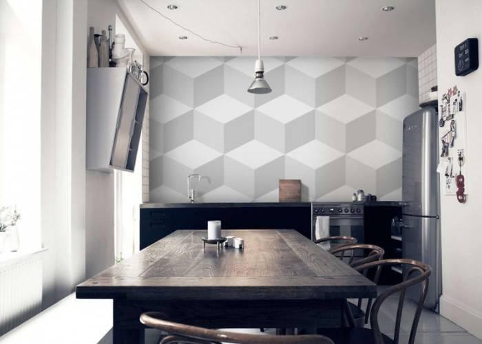 Кухонные обои с геометрией