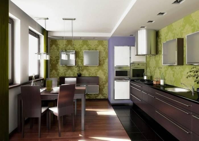 Использование на кухне зеленых обоев