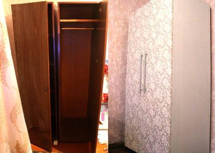 Простой вариант обклейки большого шкафа