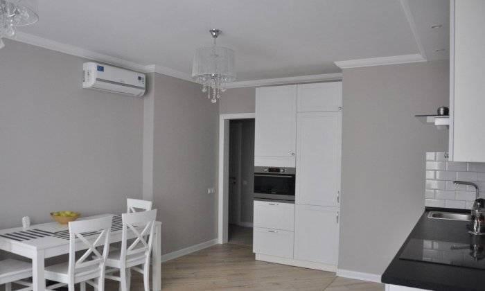 Кухня в спокойном стиле, однотонные стены