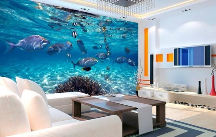 Обои с подводной тематикой в гостиной