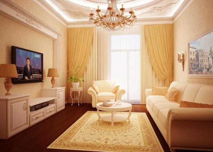 Роскошный интерьер небольшой гостиной