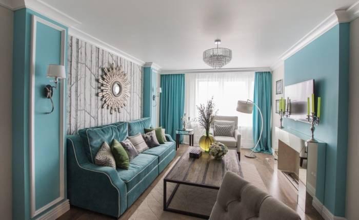 Приятный цвет стен в гостиной комнате