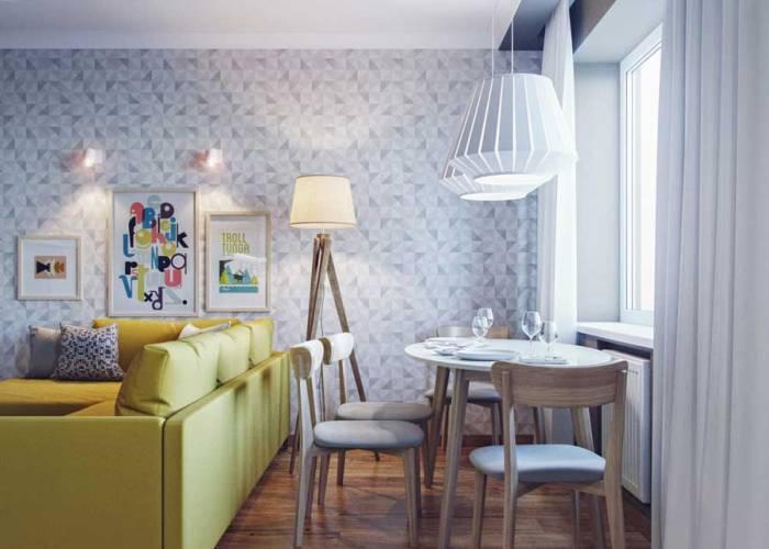 Светлая гостиная комната