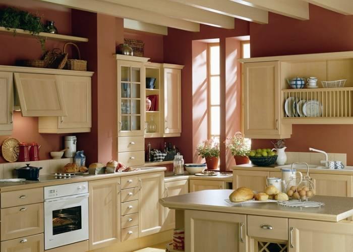 Использование бордового в интерьере кухни
