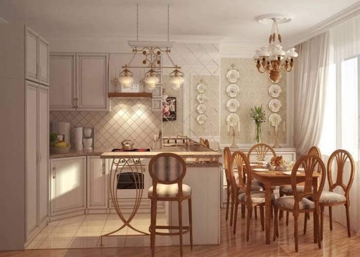 Обои на кухне в стиле прованс, модерн, кантри