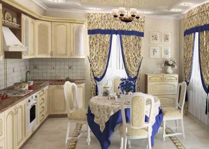 Милый интерьер большой кухни