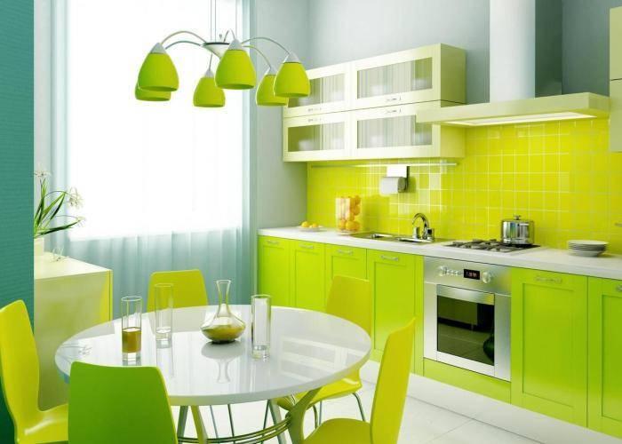 Яркая цветовая гамма на кухне