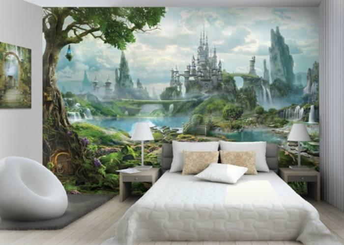 Сказочные 3Д обои в детской спальне