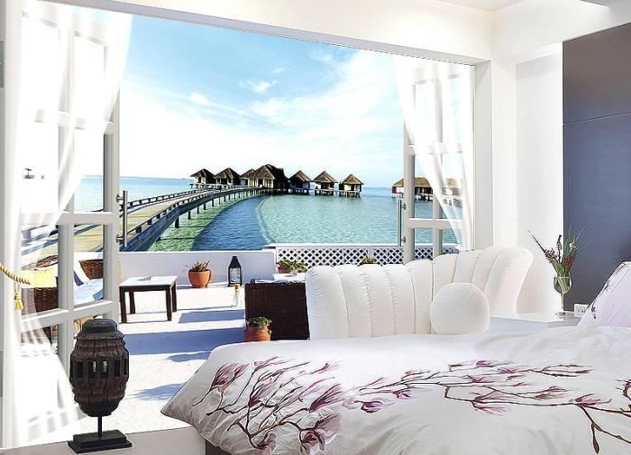Обои с красивым пейзажем в спальне