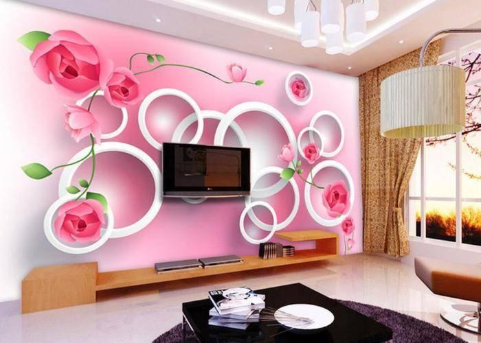 Трехмерная абстракция в гостиной комнате
