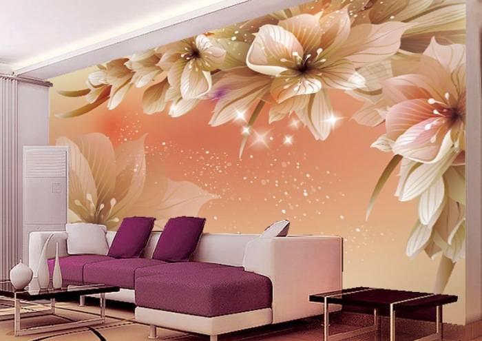 Трехмерные обои с цветами для зала