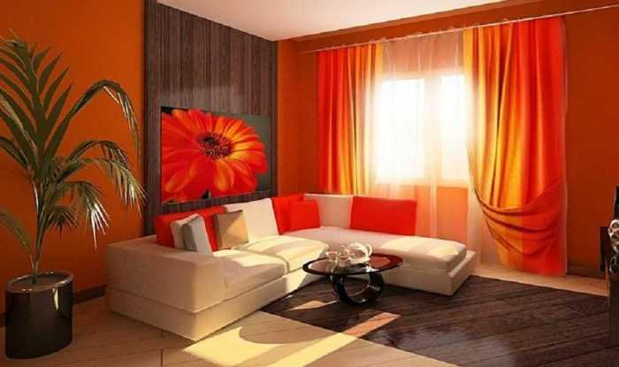 Яркие и позитивные обои в гостиной комнате