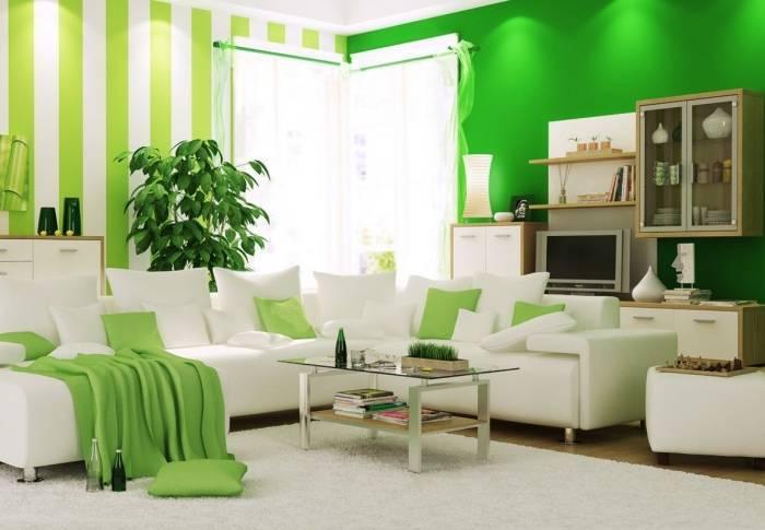 Зеленый цвет и его оттенки в интерьере гостиной