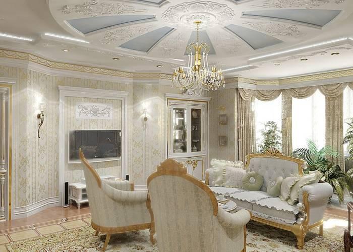 Роскошный интерьер маленькой гостиной