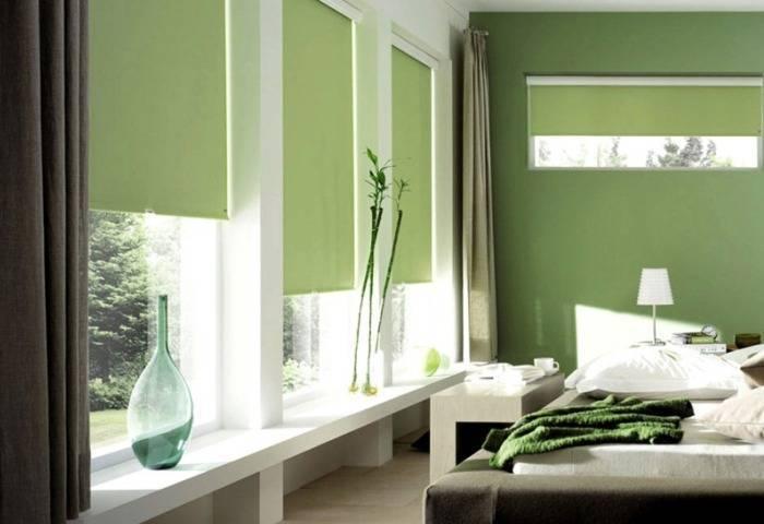 Различные оттенки зеленого в спальне