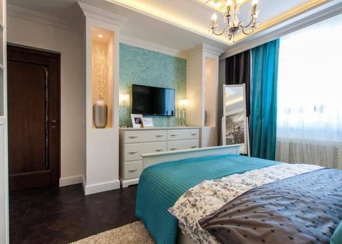 Современный интерьер спальни при участии современных материалов