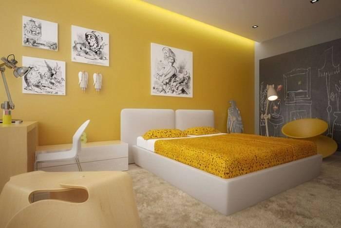 Использование в спальне обоев желтой цветовой гаммы