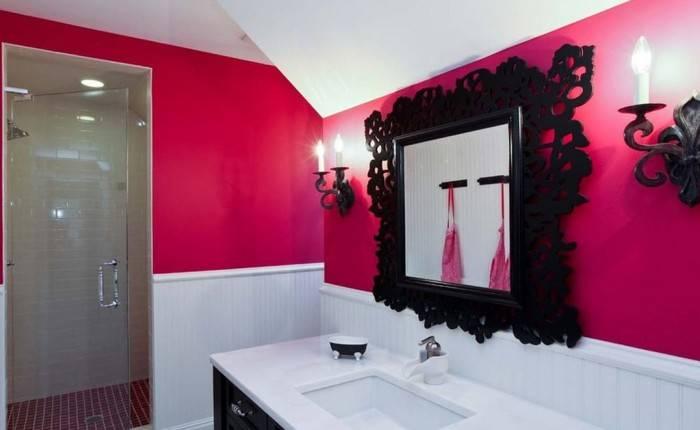 Контрастный интерьер большой ванной