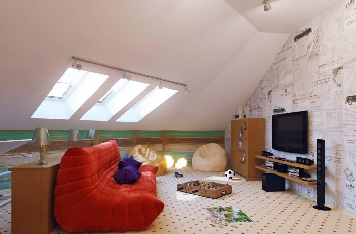 Детская комната под крышей дома