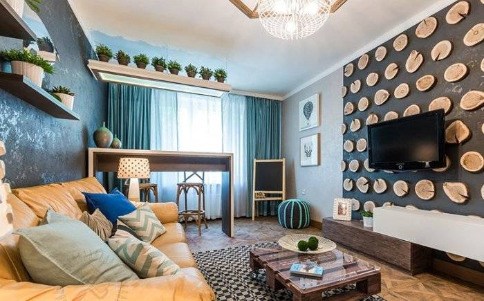 Контрастные стены в гостиной комнате