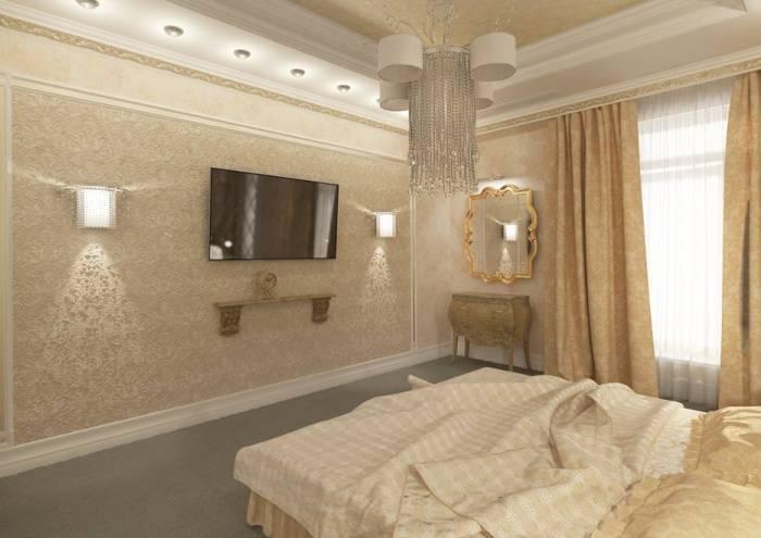 Шикарный интерьер спальни в светлых тонах