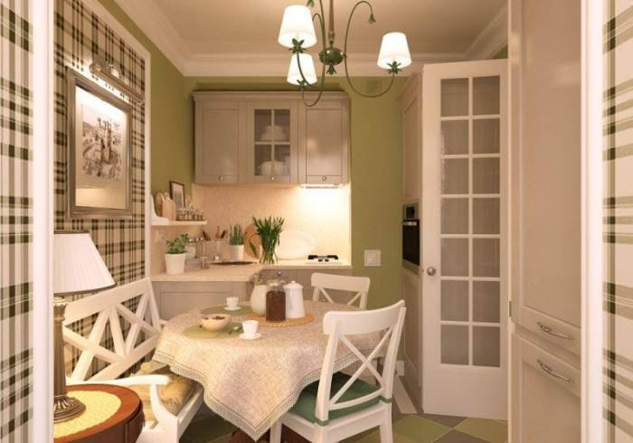 Небольшая кухня в зеленых тонах